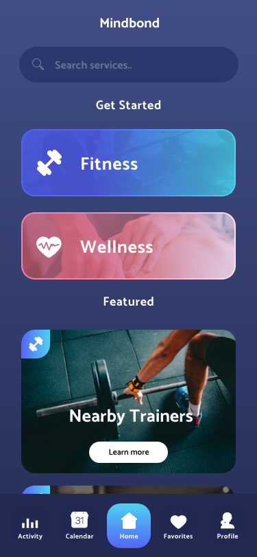 Trainer APP – Home