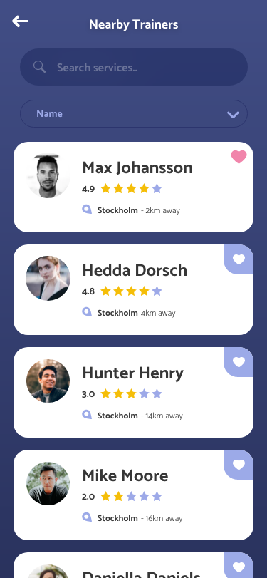 Trainer APP - Nearby Personal Trainers